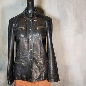 VTG GUESS LEATHER BOMBER JACKET MOTO BLACK Coat…